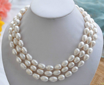"""Fashion new 3 rows10-11mm south sea white baroque pearl necklace 17""""18""""19"""""""