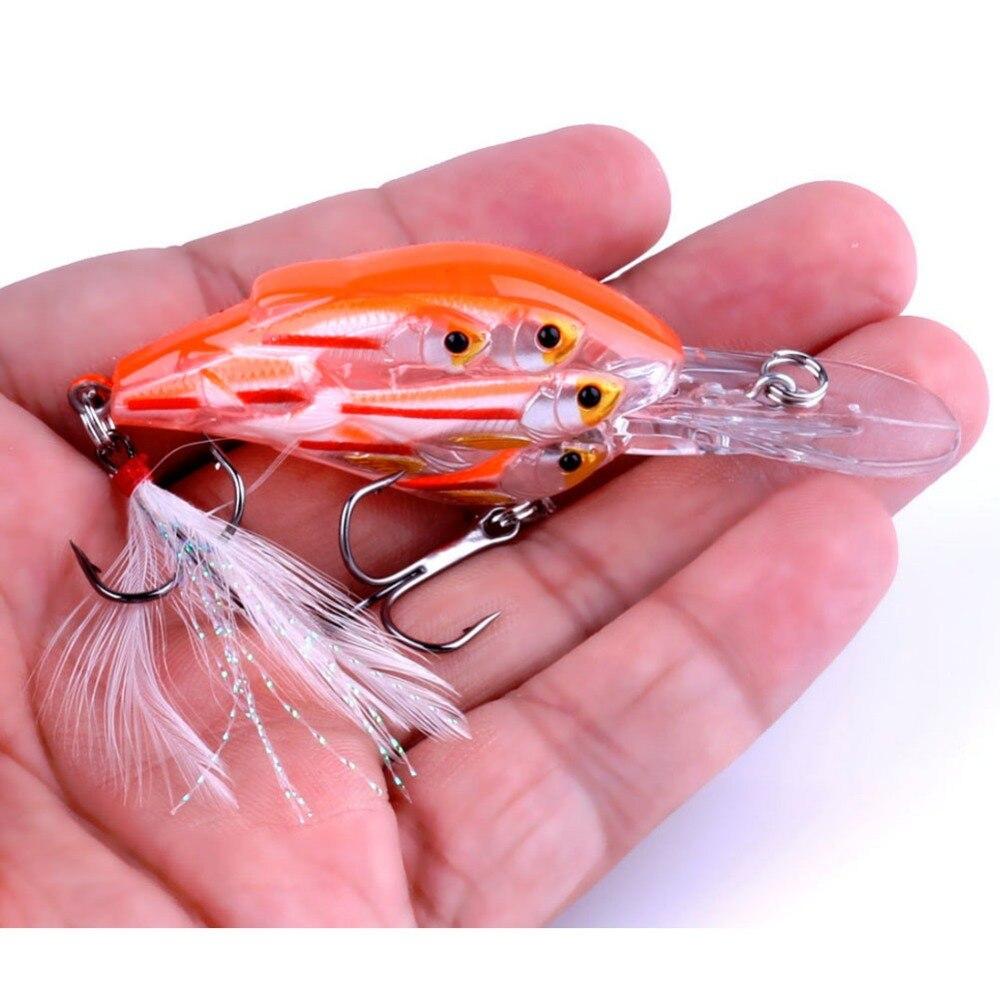 peixes plástico biônico wobbler pesca enfrentar shads #6 pena gancho