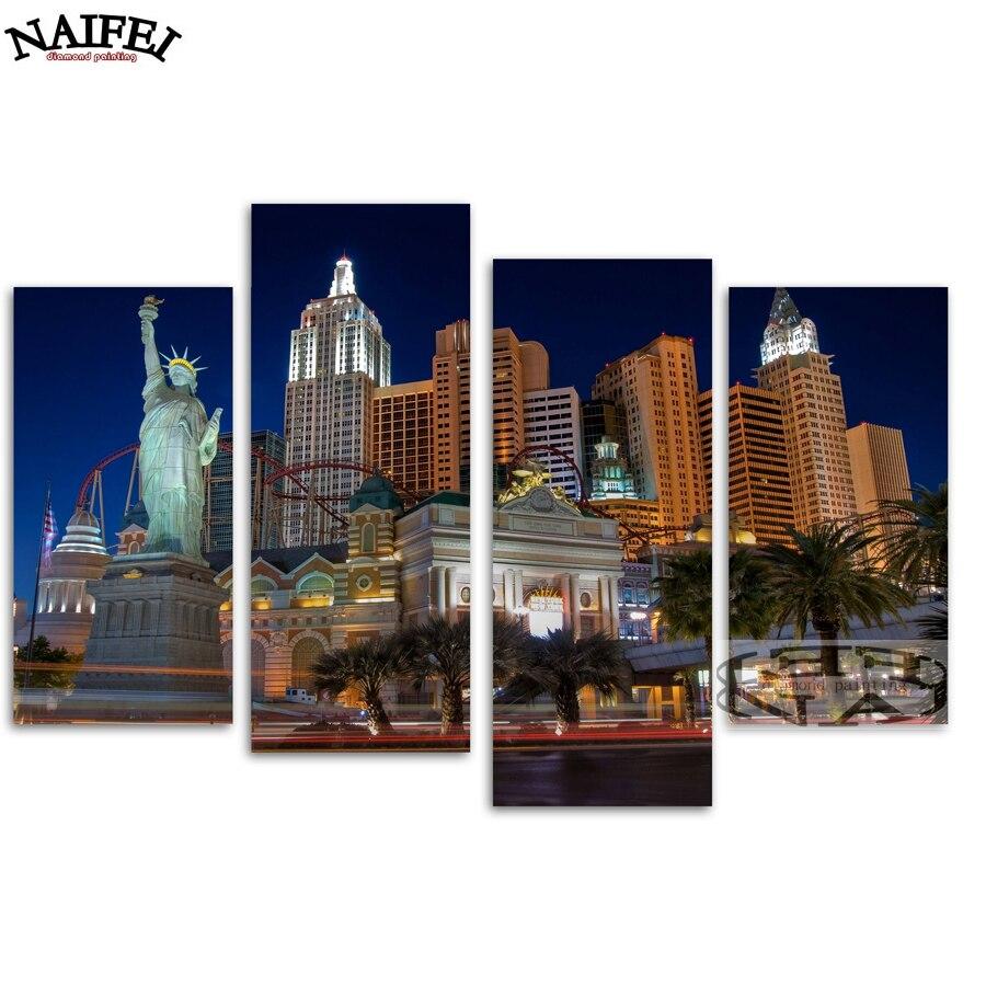 4 pièces/ensemble bricolage 5D diamant broderie Las Vegas paysage urbain, plein carré diamant mosaïque autocollants diamant peinture point de croix décor