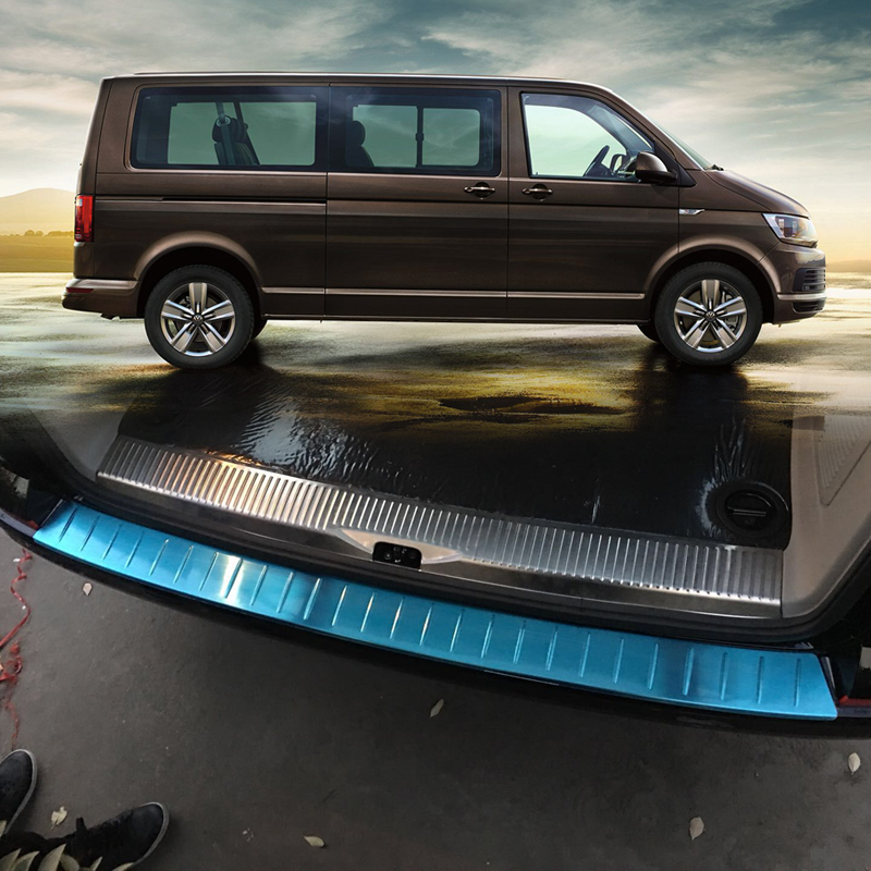 Exterior Stainless Steel Rear Bumper Skid Protector Guard Cover Trim For VW Transporter T6 Caravelle Multivan
