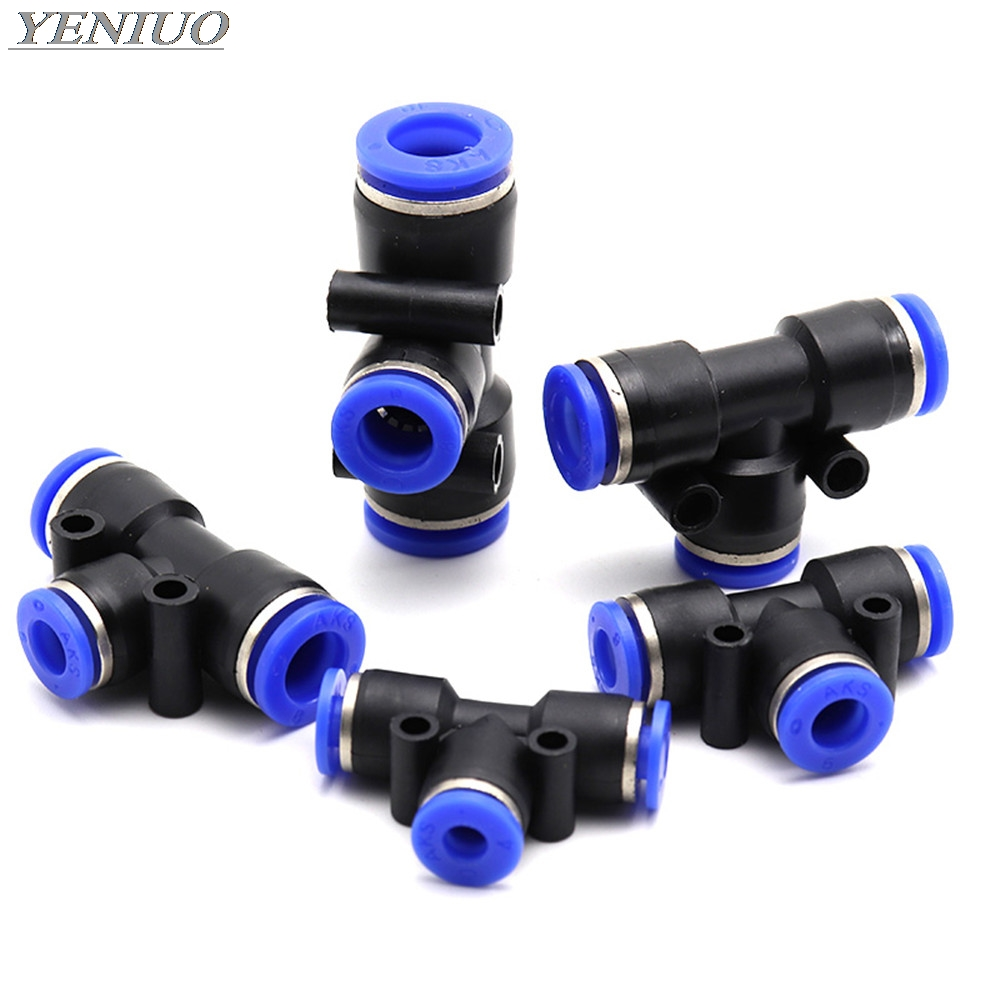 "PEG"" 3Way T Type Pneumatic Connector Tee Union Push In Fitting for Air Pipe joint 4mm-12mm OD Hose Pipe Fittings"