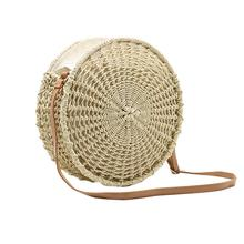 Women Beach Mesh Round Bag Tote Hollow Out Straw Braided Hand Woven Shoulder Handbag Messenger Bags Summer Crossbody
