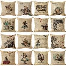 Funda de cojín vintage con ilustración de conejo en el periódico Alicia en el país de las Maravillas Retro funda decorativa para cojín