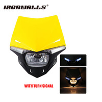 Ironwalls Motorcycle UFO Headlight Fairing Kit Lens Cover Universal Turn Signal For Yamaha DTR Enduro 50cc Scooter Streetfighter