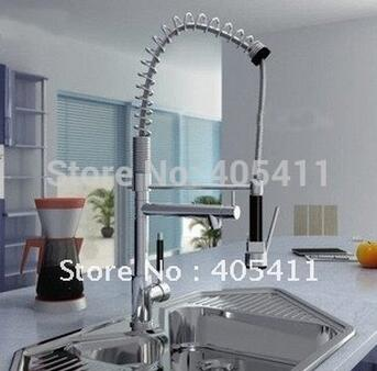 NEW Pull Out Spring Kitchen Faucet Chrome Brass Vessel Sink Mixer Tap Dual Sprayer Swivel Spout Hot And Cold Mixer Taps donyummyjo modern new chrome kitchen faucet pull out single handle swivel spout vessel sink mixer tap hot and cold water