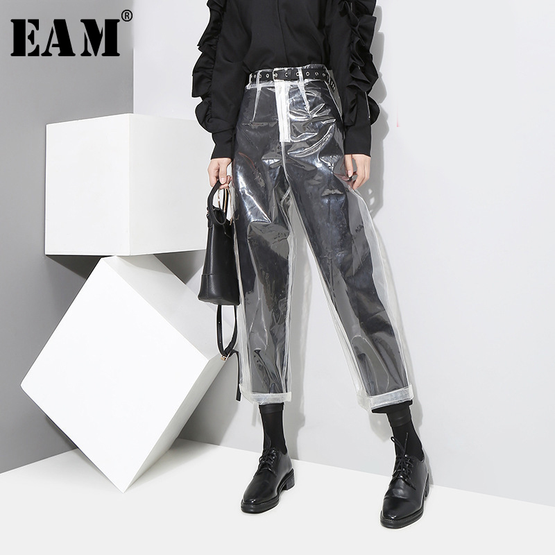 [EAM] 2019 Auutmn Fashion New Pattern Korean Style Transparent Transparent Color Pants Woman Ankle-length Pants YA84900