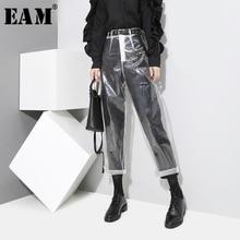 [[EAM] 2020 Auutmn Thời Trang Mẫu Mới Phong Cách Hàn Quốc Trong Suốt Màu Sắc Trong Suốt Quần Người Phụ Nữ Mắt Cá Chân Chiều Dài Quần YA84900