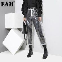 Женские прозрачные брюки до щиколотки [EAM], черные прозрачные брюки до щиколотки с узором в Корейском стиле YA84900, Новинка осени 2020