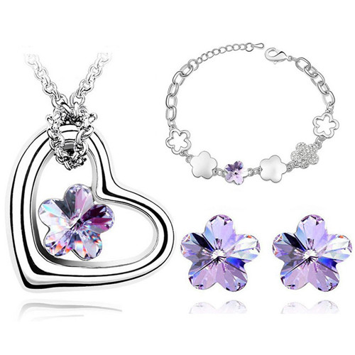 crystal plum Flower Pendant fashion Jewelry sets Necklace Earrings bracelet Free drop Shipping wedding bridal lover gift classic in Jewelry Sets from Jewelry Accessories