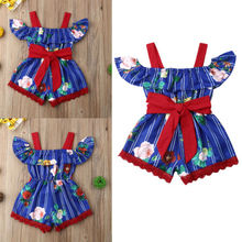 Kids Baby Girls Off Shoulder Flower Romper Jumpsuit Short Pants Outfits