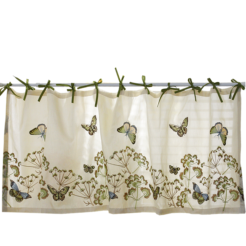 Short Curtain Butterfly Flower Embroidery Half-Curtain Frenulum Coffee Small Dustproof Curtain For Kitchen Cabinet Door