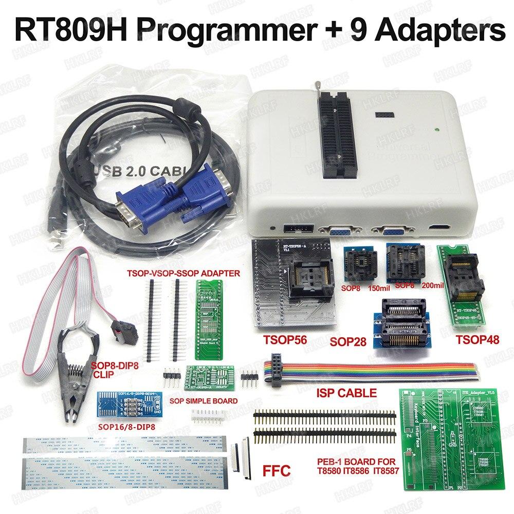 RT809H EMMC Nand FLASH Programmer 9 Adapters TSOP56 Adapter TSOP48 Adapter SOP8 Test Clip WITH CABELS