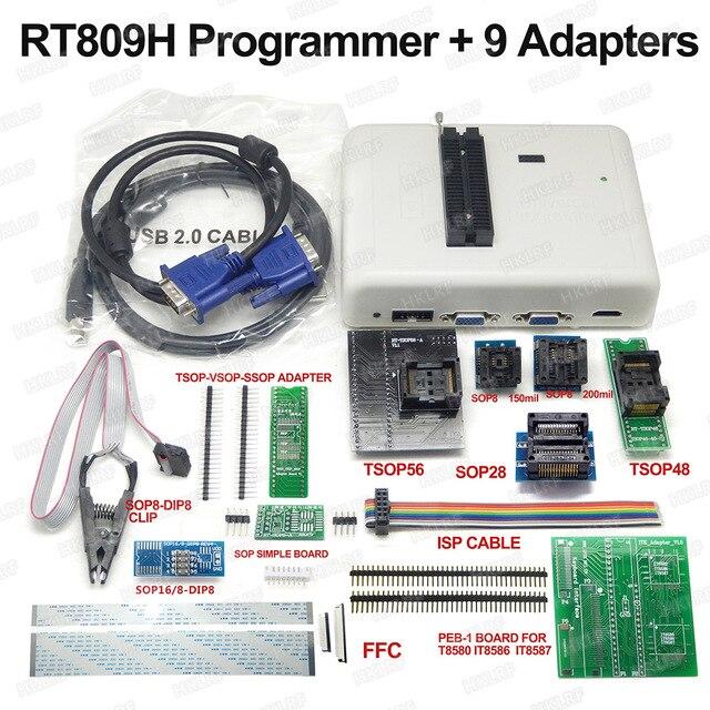 RT809H EMMC Nand Programmierer + 9 Adapter + TSOP56 Adapter + TSOP48 Adapter + SOP8 Test Clip MIT KABELN EMMC Nand Gute Qualität