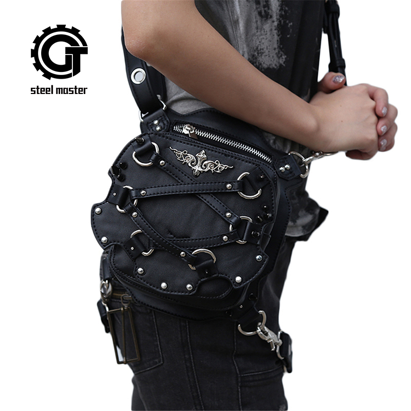 Steampunk Mini Waist Bag Women Motorcycle Leg Bags Black Gothic PU Leather Small Crossbody Phone Case