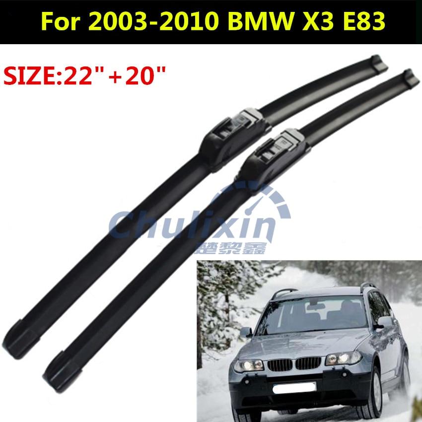 """2 шт./лот стеклоочистителей для 2003-2010 BMW X3 22 """"+ 20"""" стандартных J крюк рычаги стеклоочистителя только автомобильные аксессуары интерьера"""