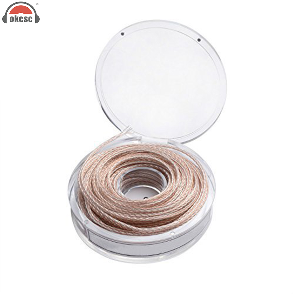 huge selection of 336f1 2d946 OKCSC DIY 8-core Earphone Audio Upgrade cable for headphone Headset Single  Crystal Copper Sliver 20 Meters