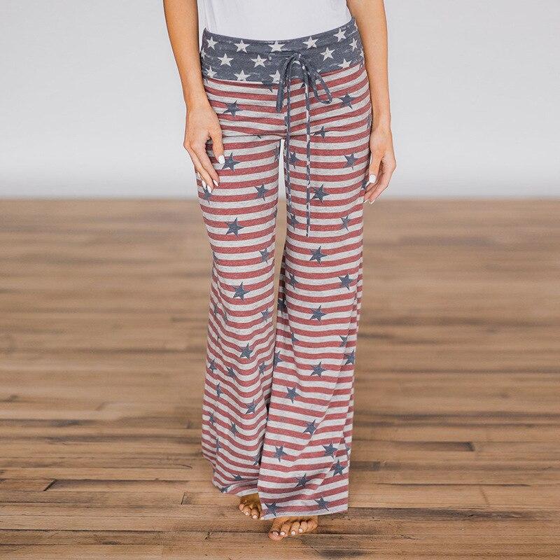 Women Long Pants Loose Floral Print Drawstring Lace Camouflage stripe Wave point Sweatpants 27