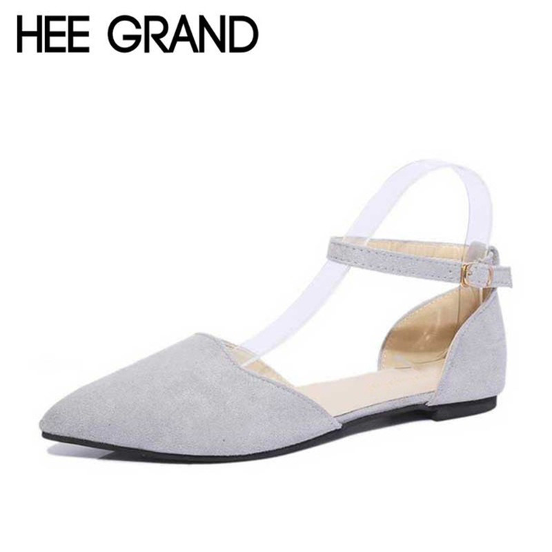 HEE GRAND Mom Flat with Women's Shoes Spring Summer Shallow Pointed Toe Solid Buckle Strap Wrap Heel Women Shoes XWD3722 2017 korean women shoes pointed toe shallow mouth flat heel buckle hollow pearls lady fashion flats women summer sandals 35 39