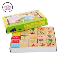 Blocchi di legno Educativi Giocattoli Colorati Per Bambini Alfabeto Domino Blocchi Apprendimento Precoce Giocattoli Regali UQ1388H