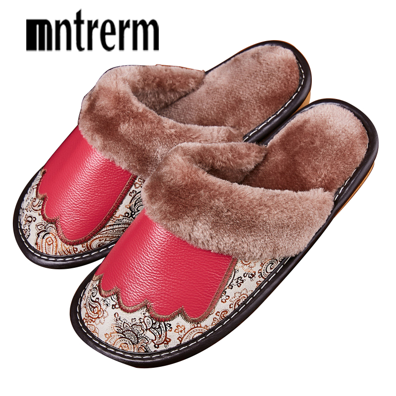 Mntrerm Fashion Warm Cowhide natural fur slippers women home shoes winter Genuine Leather slippers woman indoor house shoes new 2017 new autumn winter women slippers genuine leather high quality rabbit hair fashion slippers flat home slider warm fluff 8 40