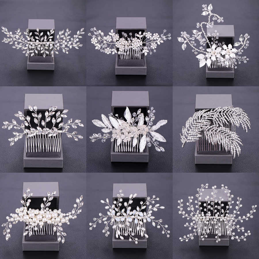 Women Hair Combs Wedding Hair Accessories Tiara Pearl Rhinestone Silver Bridal Hair Ornaments Flower Head Jewelry Headband Many