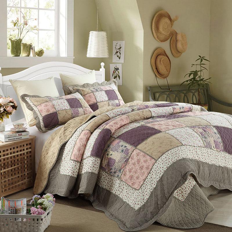 edredones de algodn edredn conjunto unids chausub impreso patchwork colcha cubierta de cama acolchado juego