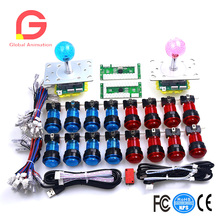 5 V LED Illuminated Joystick 16 x illuminated Aksi Push Tombol Termasuk Microswitches + Lampu + Dudukan Lampu + Tombol Arcade Kabel