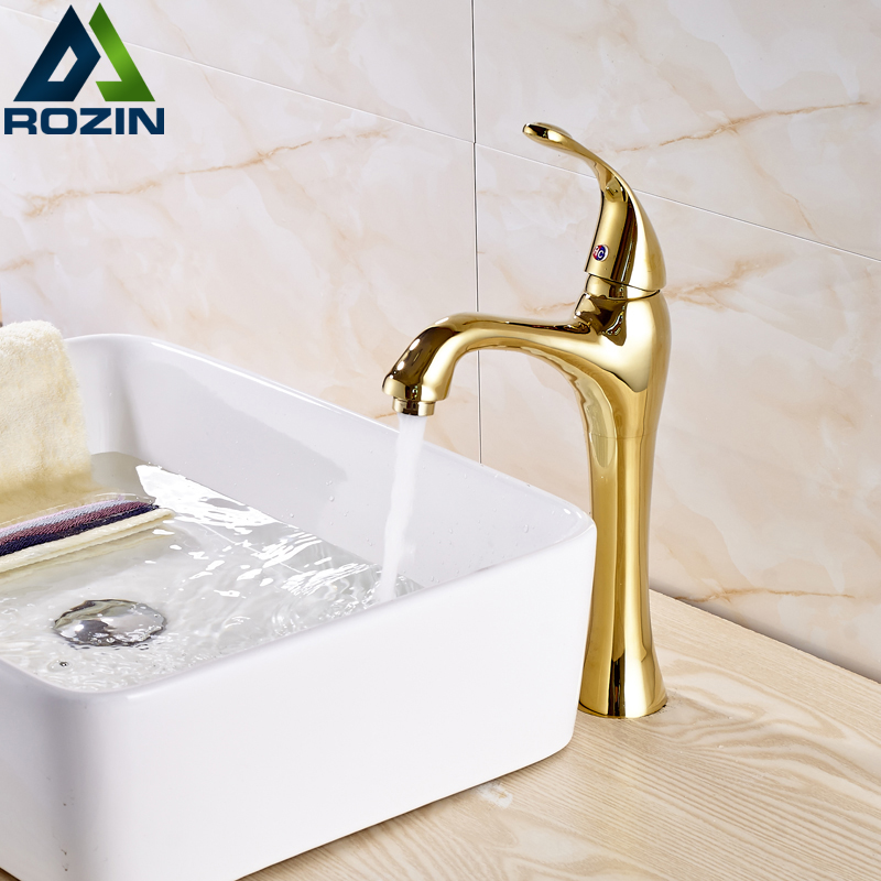 Dropshipping Golden Countertop Basin Faucet One Handle Single Hole Brass Vanity Sink Mixer Taps with Hot and Cold Water deck mount creative design basin sink faucet single handle chrome hot cold water vanity sink mixer taps