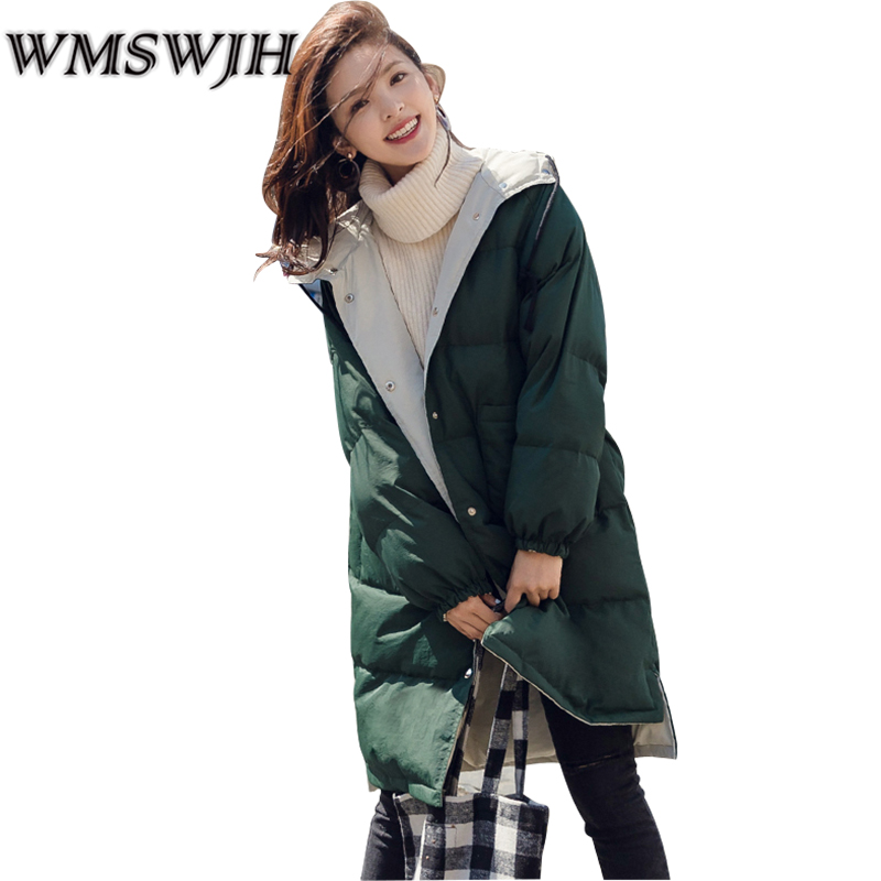 2017 Fashion Winter Jacket Women Long Down Cotton Parka Winter Coat Women Hooded Two Side Wear Jaqueta Feminina Inverno  A09 hooded winter jacket women thick cotton padded parka down warm casaco feminino jaqueta feminina abrigos mujer invierno sy235