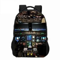 VEEVANV Fashion Men Backapcks Aircraft Cabin Printing Backpack Teenage Girls Boys Aircraft Cockpit Shoulder Bags School Backpack