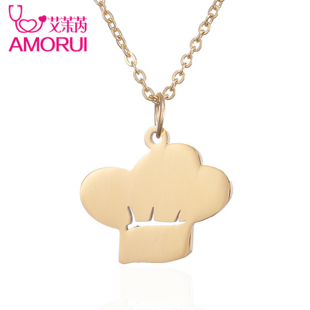 AMORUI New 2017 Chef Hat Pendant Necklace Jewelry Women Stainless Steel Choker Chain Gold Silver