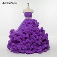Lüks Mor Kristal Kanat ile Gelinlik Bulut Straplez Kabarık Gelin Elbiseler Hamile Kadınlar 2017 vestidos de novia
