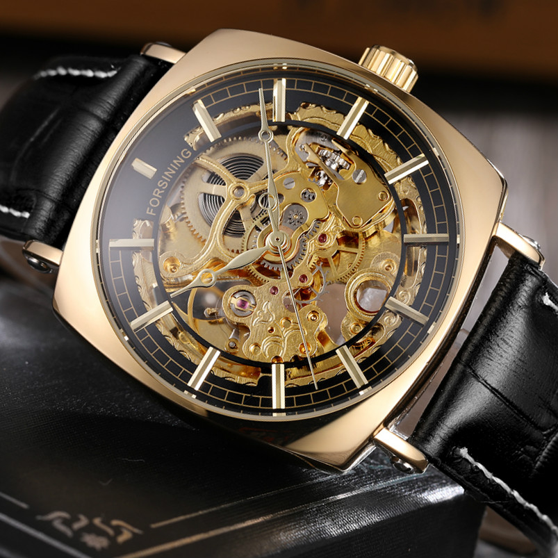 FORSINING Luxury Brand Automatic Watches Men Golden Skeleton Genuine Leather Mechanical Wristwatch Waterproof Relogio Masculino forsining brand trendy automatic mechanical watches men skeleton dial stylish dress wristwatches with leather band