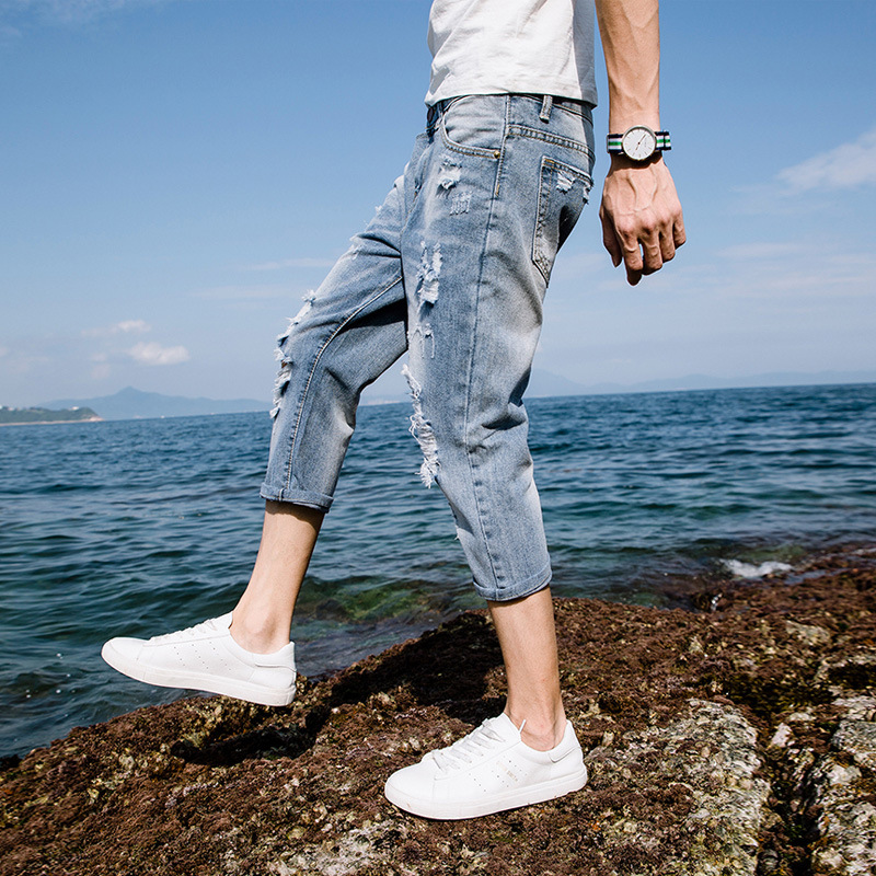 High quality 2019 Summer Casual Ripped hole denim Distressed Cowboy hip hop Students thin jeans male Calf Length pants homme in Jeans from Men 39 s Clothing