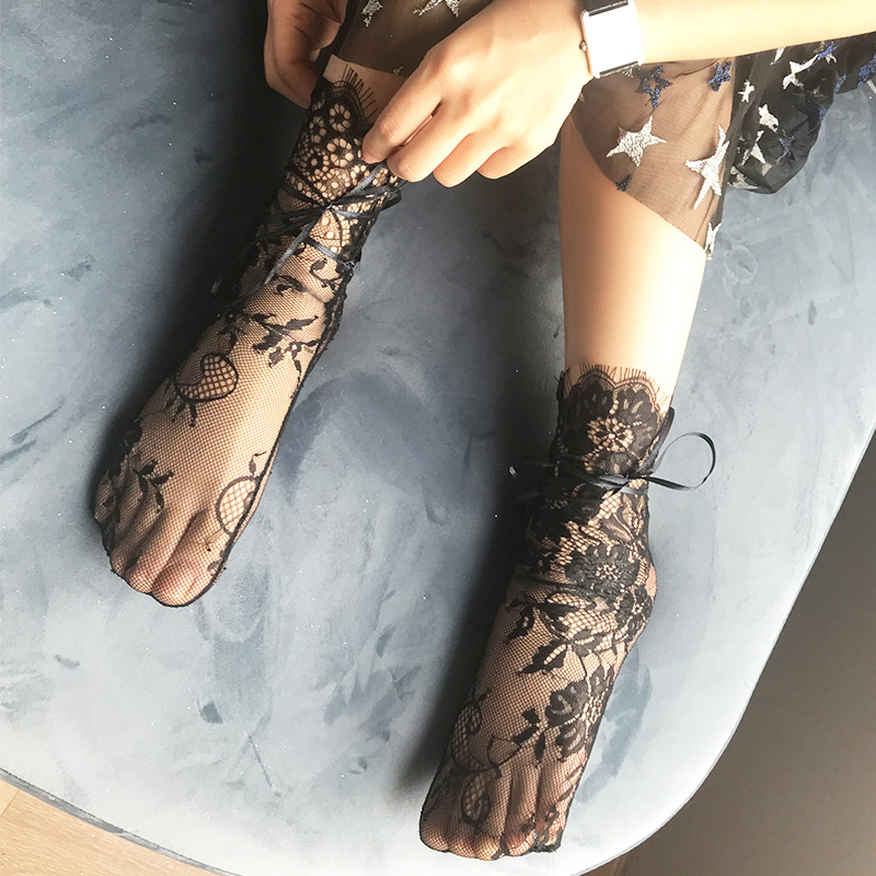 Women's Luxurious Eyelash Lace Ribbon Socks Ladies Transparent Floral Lace Socks Mesh Bow Fishnet Sock Sox Hosiery