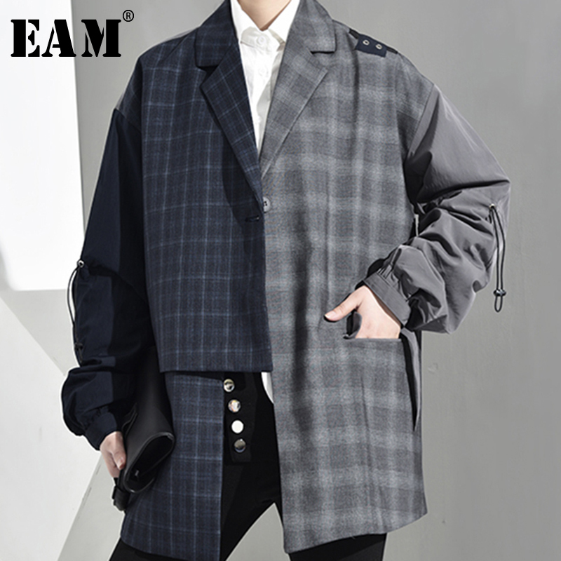 [EAM] Women Blue Irregular Jacket Turn-down Collar Long Sleeve Plaid Printed Drawstring Coat Fashion 2020 Spring Autumn JQ2761
