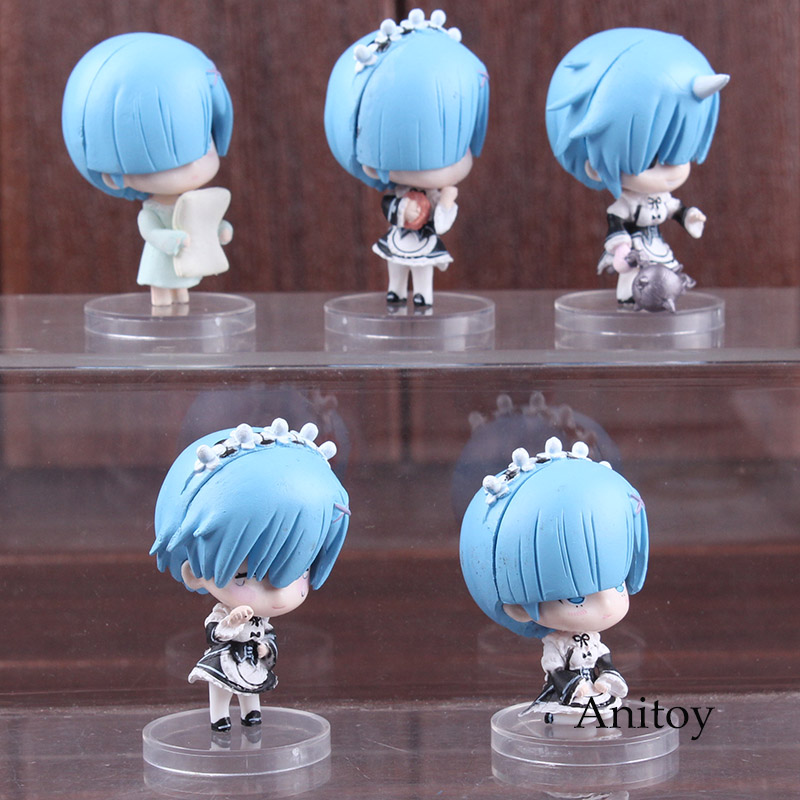 Re:Life In A Different World From Zero Anime Figure Rem Q Version PVC Re: Zero Rem Action Figure Collectible Model Toys 5pcs/set