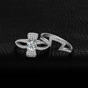 Image 3 - Jewelrypalaceラウンド 1ctキュービックジルコニアフローラリボンちょう結びスプ婚約リングセット 925 スターリングシルバージュエリーファッション