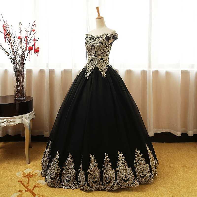 Ruthshen כדור שמלת זהב אפליקציות Quinceanera שמלות אדום שחור את כתף Vestidos דה 15 Sweet Sixteen נשף שמלה