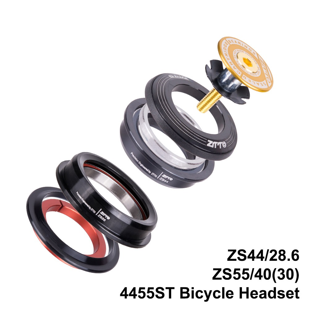 "4455ST MTB Bicycle Headset Cover 44mm 55mm CNC 1 1/8""-1 1/2"" 1.5 Tapered 28.6 Straight Tube Fork Internal 44 55 Headset Bearing"