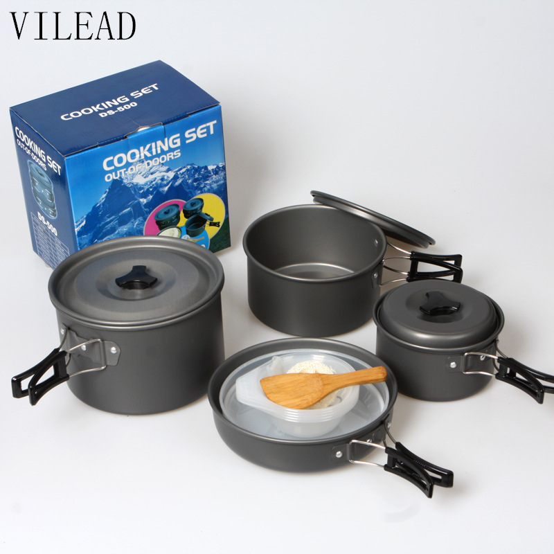 VILEAD Aluminum Alloy Outdoor Tableware Camping Cookware Bowl Pan Pot 13Pcs/Set Hiking Picnic Travel Cooking Tool for 4-5 Person ds 301 outdoor camping hiking picnic cookware cooking pan pot bowl set for 2 3 person cozinha camping trip dishes