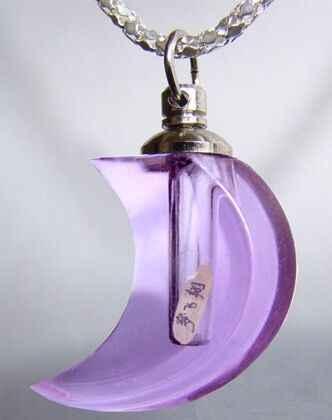 100 pz forma di luna di cristallo di Vetro pendente della fiala Fiala di profumo di strass bottiglia di olio Essenziale di nome su rice art collana fai da te decor