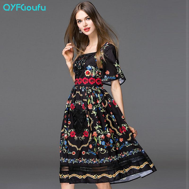 QYFCIOUFU Fashion Runway 2018 vestido de verano de manga corta de las - Ropa de mujer