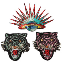 1PC Tiger Sun Sequins Iron On Patches Stripes For Clothes DIY Embroidered Patch Applique Badges Clothing For T Shirt Big Size with rhinestones star skeleton iron on patches stripes for clothes diy embroidered patch applique badges clothing t shirt crafts