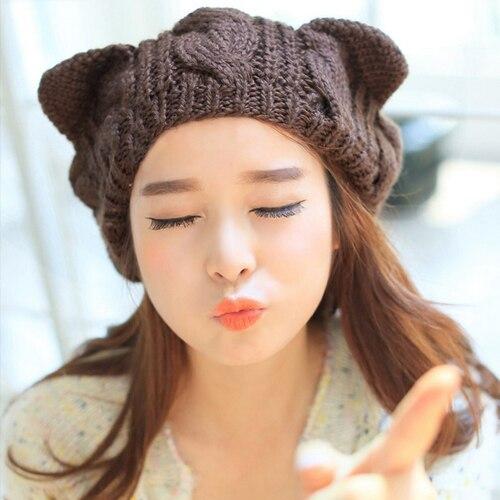 Лидер продаж Для женщин зима вязание крючком Плетеный милые кошачьи уши берет Лыжная шапочка вязаная шапка Розничная/оптовая продажа 4vra