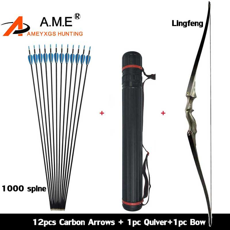 Archery America Hunting Take Down 60 inch Recurve Bow Black Color Gift Arrow Rest Shooting 30-60bls Carbon Arrows Quiver bow quiver arrow with 12pics arrows fiberglass telescopic quiver tube canister for compound bow archery arrows