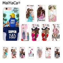 MaiYaCa Black Brown Hair Baby Mom Girl Sup Dad High Quality Phone Case for iPhone 8 7 6 6S Plus X XS MAX 5 5S SE XR 10 Cover(China)