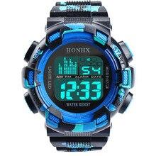 guys watch 2017 gentleman clock Mens Stainless Steel LED Digital Date Alarm Waterproof Sports Army Quartz Watch relogio 170410