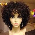 Corto pelucas del pelo humano brasileño cabello humano rizado corto pelucas para mujeres negras humano pelo corto y rizado peluca del frente del cordón con el pelo del bebé