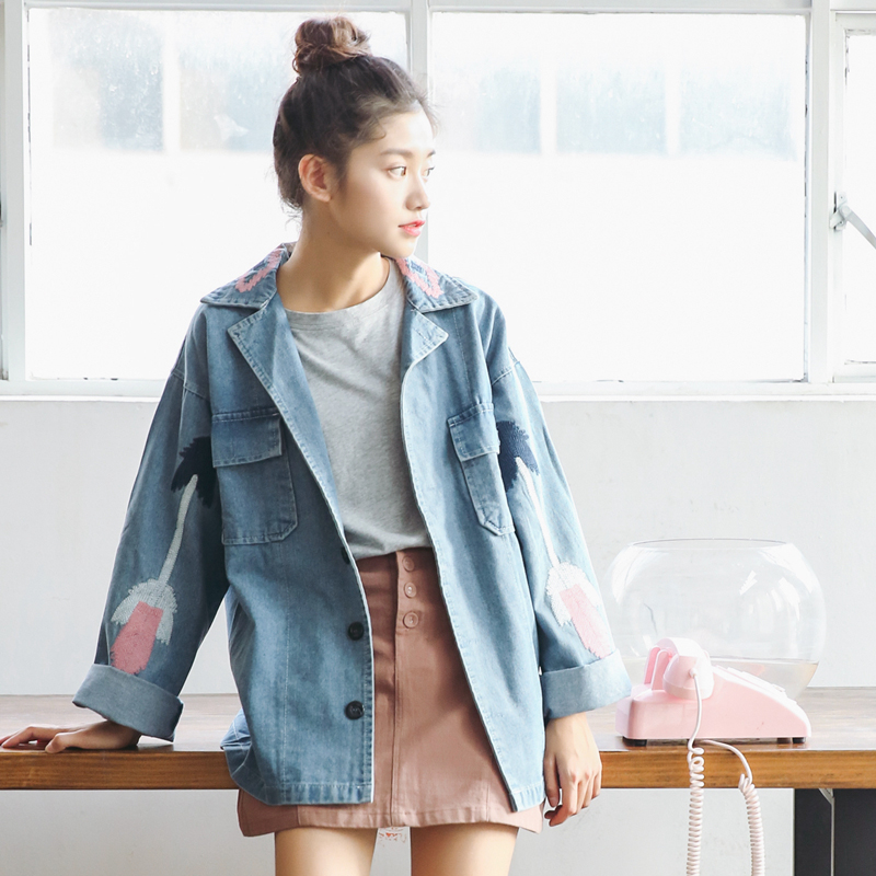 King bright Brand Geometric embroidery jeans jacket women denim tops blouson bombers femme veste camperas mujer abrigo chaqueta jeans con blazer mujer